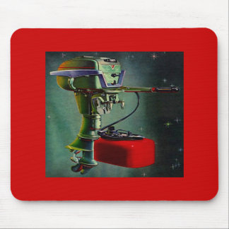 Mousepad Retro Outboard Motor & Red Metal Gas Tank