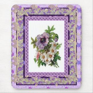 Mousepad Vintage Floral Mauve Flowers