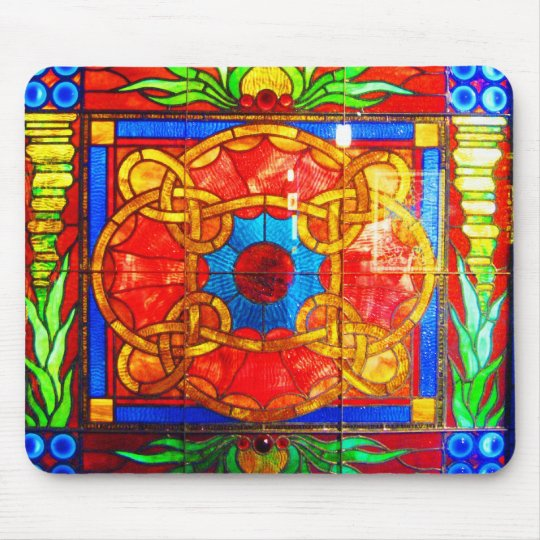 Mousepad-Vintage Stained Glass Art-17 Mouse Mat