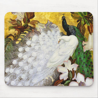 Mousepad: White and Blue Peacocks Mouse Mat