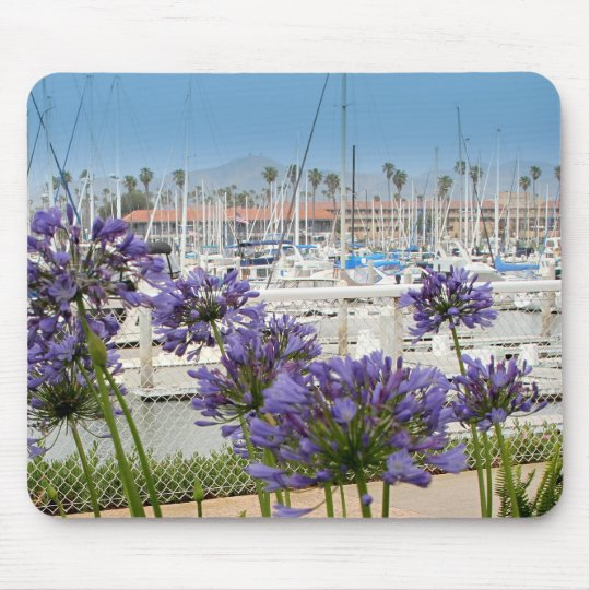 Mousepad with Blue Agapanthus Flowers