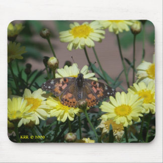 Mousepad with butterfly and yellow flowers