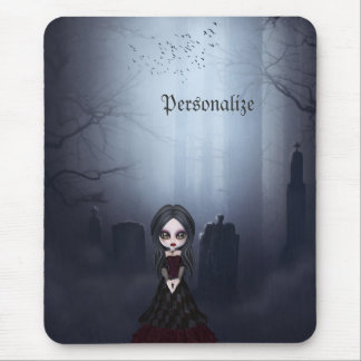 Mousepad with Creepy Goth Girl in Graveyard