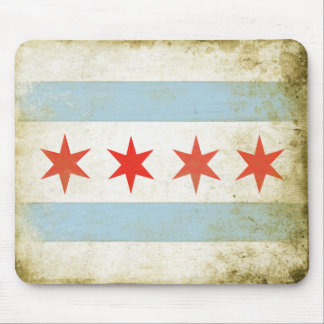 Mousepad with Distressed Chicago Flag Print
