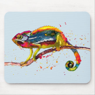 Mousepad with handpainted chameleon