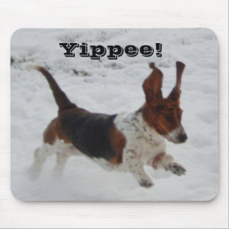 """Mousepad with Jumping Basset Hound """"Yippee"""""""