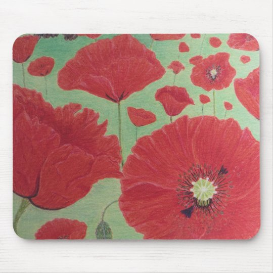 Mousepad with red poppies