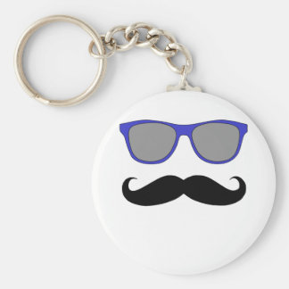 Moustache and Blue Sunglasses Humour Basic Round Button Key Ring