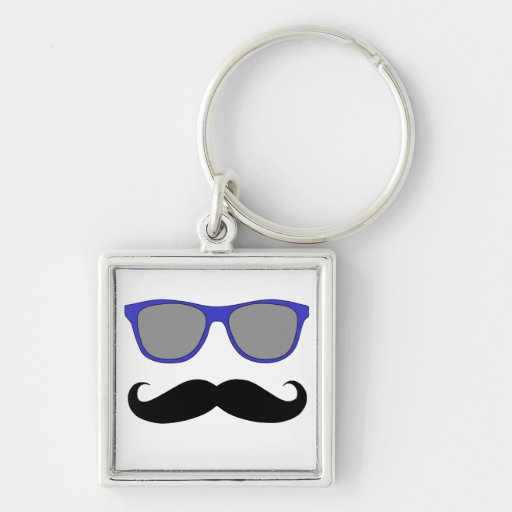 Moustache and Blue Sunglasses Humour Silver-Colored Square Key Ring
