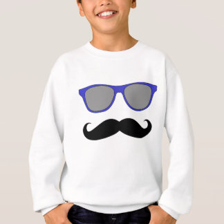 Moustache and Blue Sunglasses Humour Sweatshirt