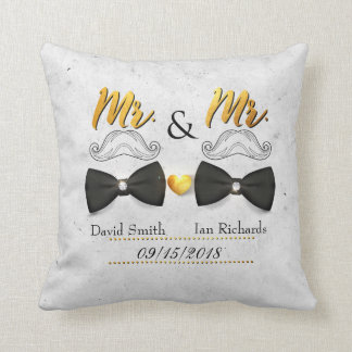 Moustache and bow for Mr and Mr Cushion