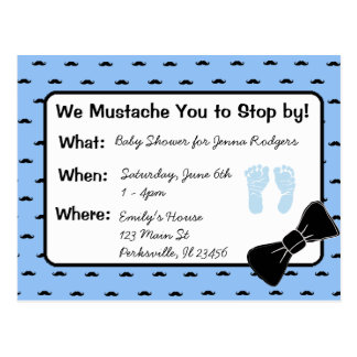 Moustache and Bow tie Baby Shower Invitation Postcard