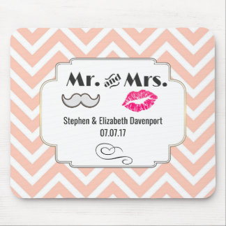 Moustache and Lips on Peach Chevron Wedding Mouse Pad