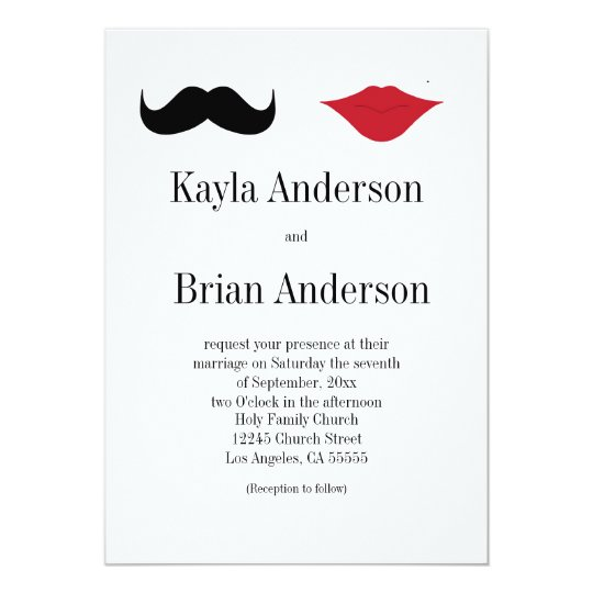 Moustache and lips wedding invitation