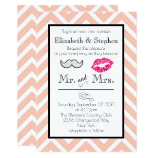 Moustache and Lips Wedding Invite on Peach Chevron