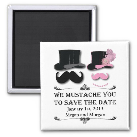 Moustache and Top Hat Save The Date Magnet