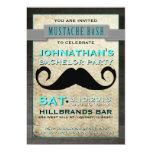 Moustache Bash Hipster Bachelor Party Invitation