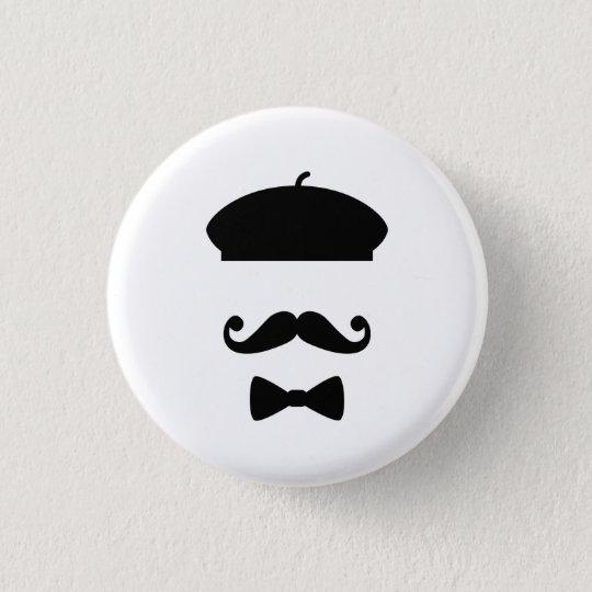 Moustache & Beret Pictogram Button