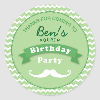 Moustache Birthday Party Thank you Sticker Green