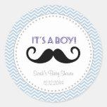 Moustache Boy Baby Shower Sticker Blue Chevron