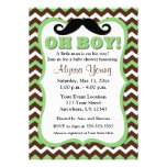 Moustache Brown Green Chevron Baby Shower Invite