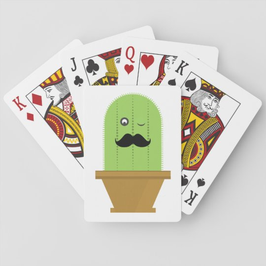 Moustache Cactus Playing Cards