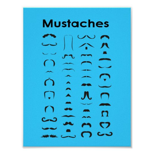 Moustache Chart Poster Funny Gift
