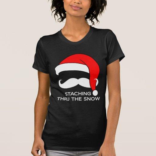 Moustache Christmas - Staching thru the Snow Tshirts