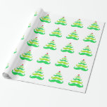 Moustache Christmas Tree Wrapping Paper