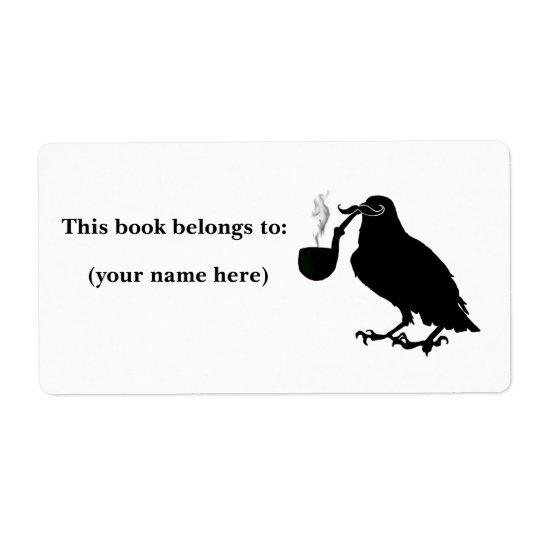 Moustache crow bookplate, square