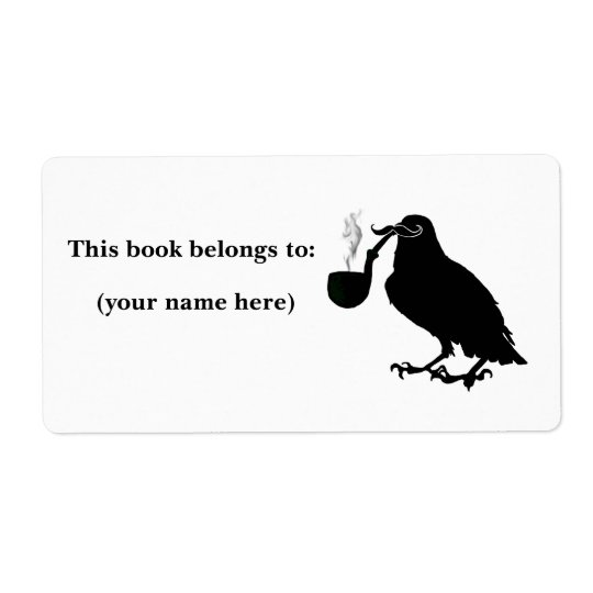 Moustache crow bookplate, square shipping label