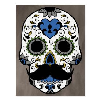 Moustache Day of the Dead Sugar Skull Postcard