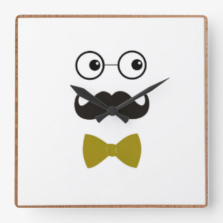 moustache face wall clock