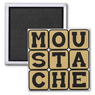 Moustache, Facial Hair Square Magnet