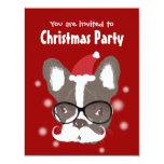 Moustache French Bulldog Christmas Party 11 Cm X 14 Cm Invitation Card