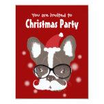 Moustache French Bulldog Christmas Party 11 Cm X 14 Cm Invitation Card