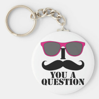Moustache Humor with Pink Sunglasses Basic Round Button Key Ring