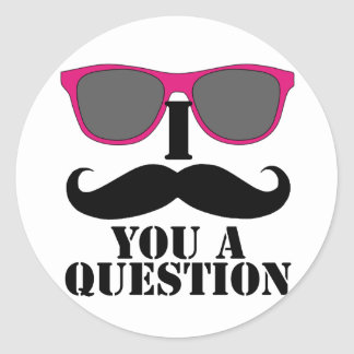 Moustache Humor with Pink Sunglasses Round Sticker