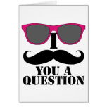 Moustache Humour with Pink Sunglasses Card