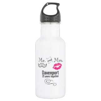 Moustache & Lips Mr. & Mrs. Anniversary 532 Ml Water Bottle