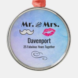 Moustache & Lips Mr. & Mrs. - Anniversary Christmas Ornament