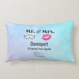 Moustache & Lips Mr. & Mrs. - Anniversary Lumbar Cushion