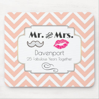 Moustache & Lips Mr. & Mrs. - Anniversary Mouse Mat