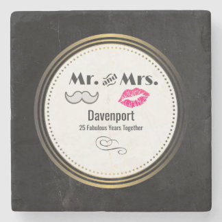 Moustache & Lips Mr. & Mrs. - Anniversary Stone Beverage Coaster