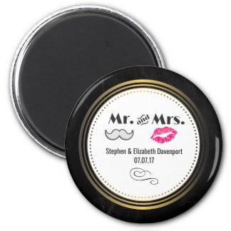 Moustache & Lips Mr. & Mrs. Black & Gold Wedding Magnet