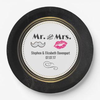 Moustache & Lips Mr. & Mrs. Black & Gold Wedding Paper Plate