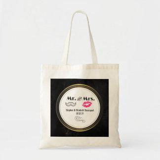 Moustache & Lips Mr. & Mrs. Black & Gold Wedding Tote Bag