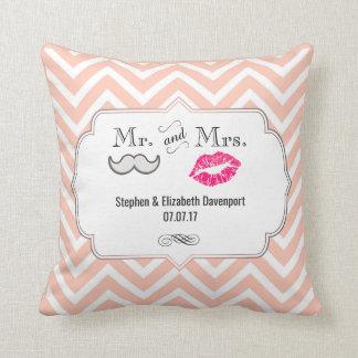 Moustache & Lips Mr. & Mrs. Peach Chevron Wedding Cushion