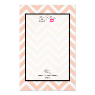 Moustache & Lips Mr. & Mrs. Peach Chevron Wedding Customized Stationery