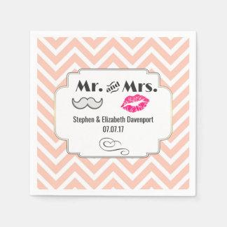 Moustache & Lips Mr. & Mrs. Peach Chevron Wedding Disposable Napkin